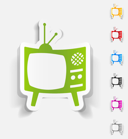 old tv: realistic design element of old tv