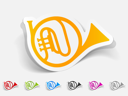 french horn: realistic design element. french horn Illustration