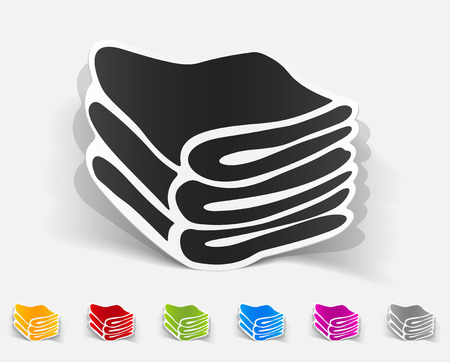 textile care symbol: realistic design element of towels