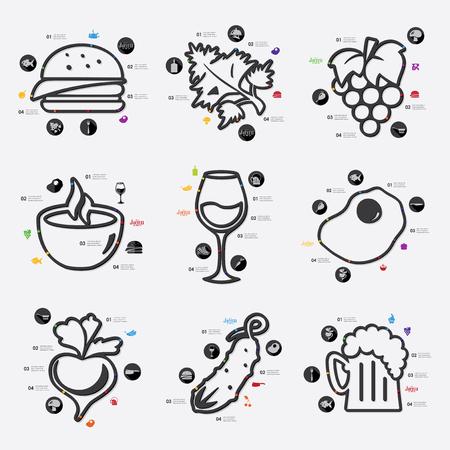 comfort food: restaurant foods infographic Illustration