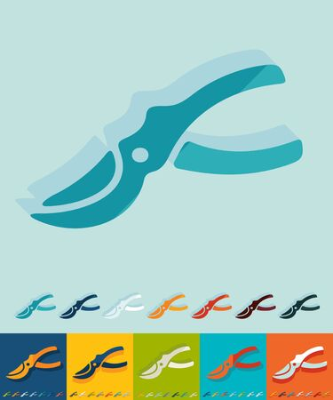 pruning shears: pruner icon in flat design with long shadows Illustration