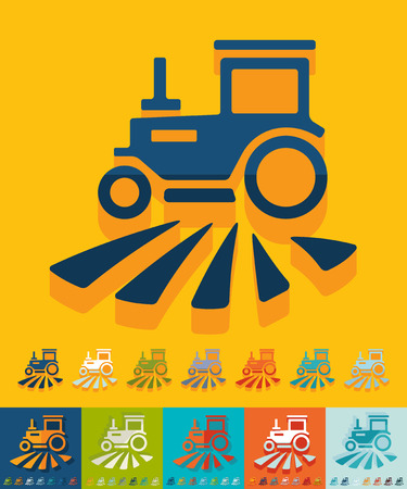 agrimotor: tractor icon in flat design with long shadows