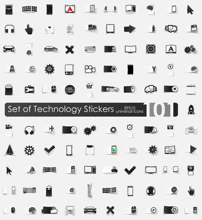 complex system: Set of technology stickers