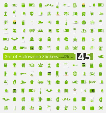 Halloween sticker icons with shadow. Paper cut Vector