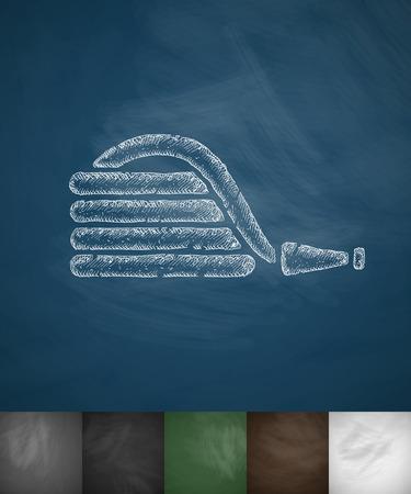 kunststoff rohr: Gummischlauch-Symbol. Hand, die Abbildung auf Tafel Illustration