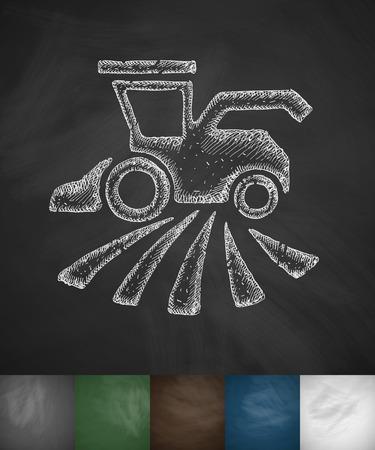 combine-harvester icon. Hand drawn illustration on Chalkboard