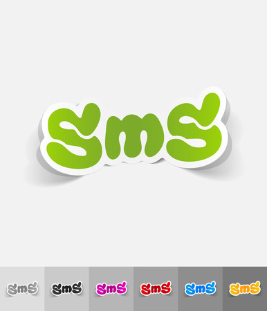 short message service: sms message paper sticker with shadow