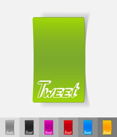 tweet: tweet paper sticker with shadow