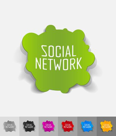social network paper sticker with shadow Vector