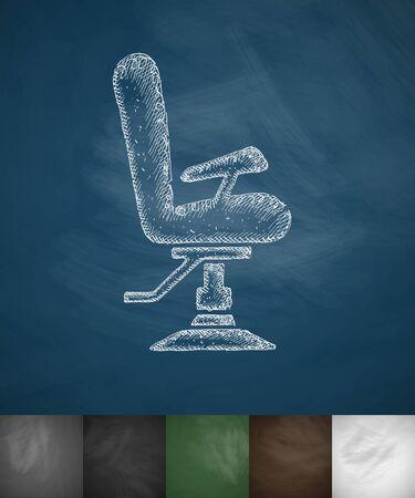 barber chair icon. Hand drawn illustration on Chalkboard