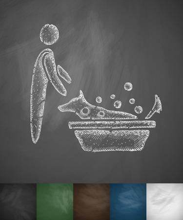 dog sled: bathing dogs icon. Hand drawn illustration on Chalkboard
