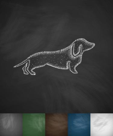 dog sled: german badger-dog icon. Hand drawn illustration on Chalkboard Illustration