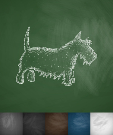 dog sled: scottish terrier icon. Hand drawn illustration on Chalkboard