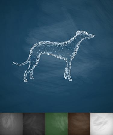 chart: greyhound icon. Hand drawn illustration on Chalkboard Ilustracja