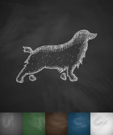 handlers: spaniel icon. Hand drawn illustration on Chalkboard