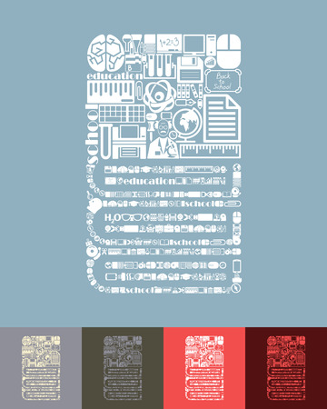 composition book: illustration of the book with icons composition