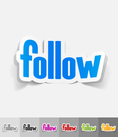 follow paper sticker with shadow. Vector illustration Illustration