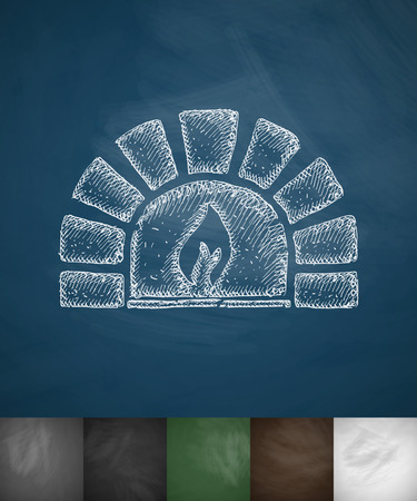 open flame: oven icon. Hand drawn vector illustration. Chalkboard Design