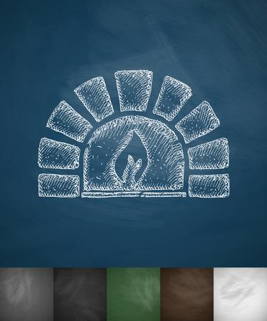 oven: oven icon. Hand drawn vector illustration. Chalkboard Design