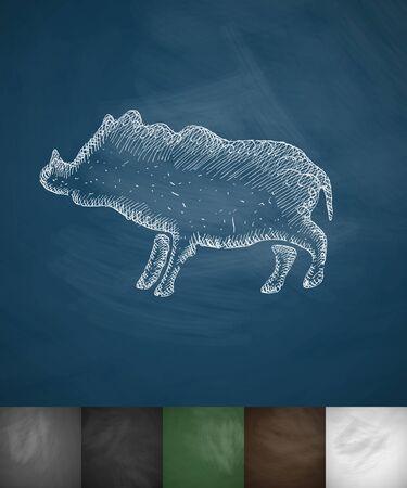 viviparous: boar icon. Hand drawn vector illustration. Chalkboard Design Illustration