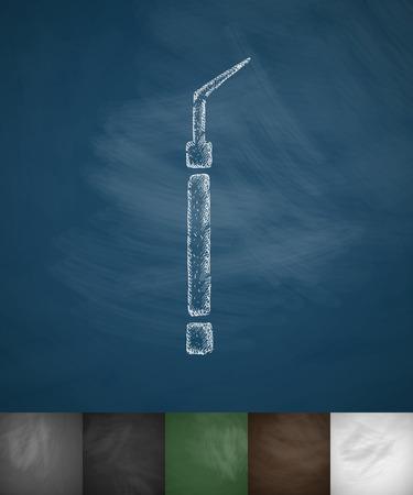 probe: dental probe icon. Hand drawn vector illustration. Chalkboard Design