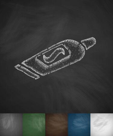 toothpaste icon. Hand drawn vector illustration. Chalkboard Design Vector