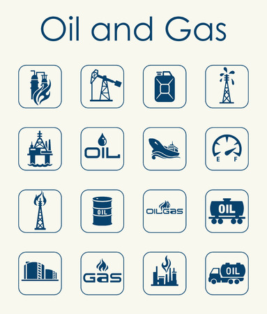 oil refinery: It is a set of oil and gas simple web icons Illustration