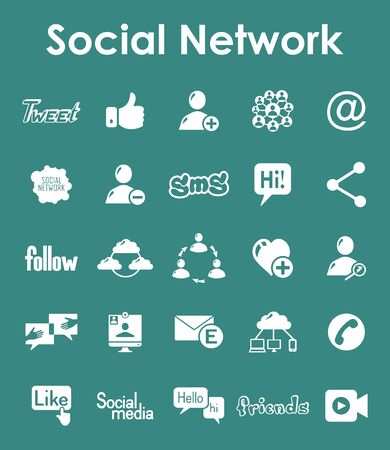 It is a set of social network simple web icons Illustration