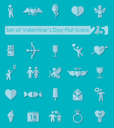 intimacy: Set of Valentines Day flat icons for Web and Mobile Applications Illustration