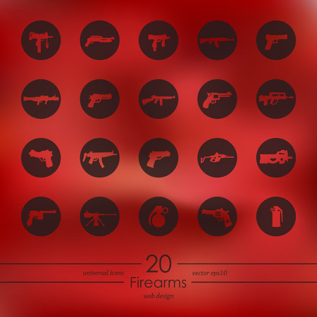 automatic rifle: firearms modern icons for mobile interface on blurred background