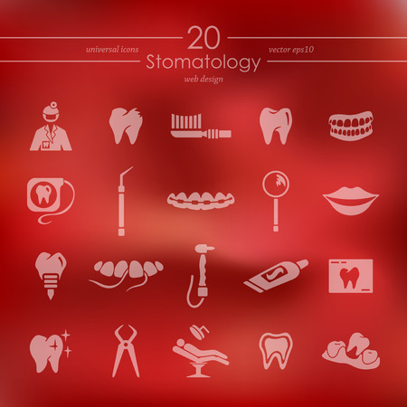 stomatology modern icons for mobile interface on blurred background Illustration
