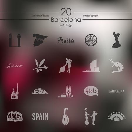 port of spain: Barcelona modern icons for mobile interface on blurred background Illustration