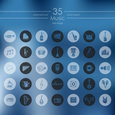 music modern icons for mobile interface on blurred background Vector