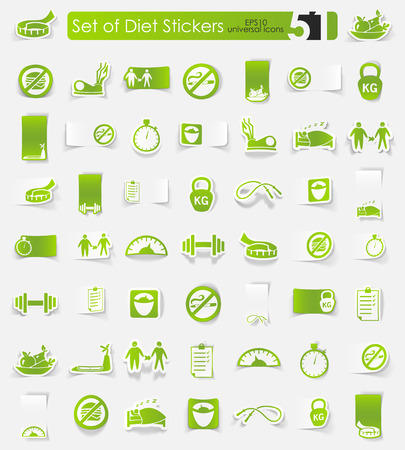 diet vector sticker icons with shadow. Paper cut