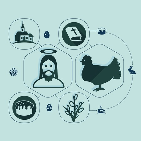 artistic jesus: easter flat infographic Illustration
