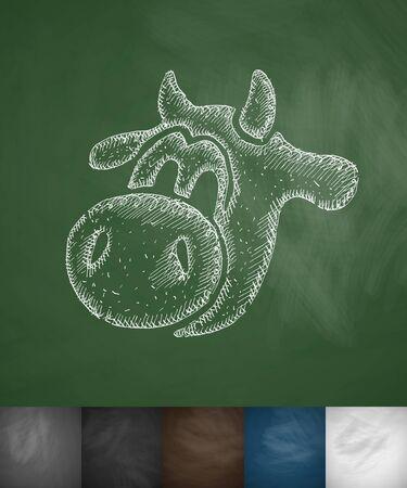 udders: muzzle cow icon. Hand drawn vector illustration. Chalkboard Design