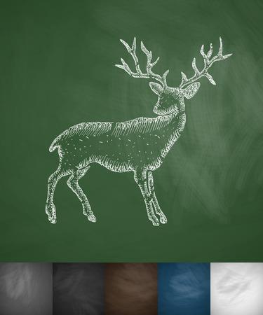 viviparous: deer icon. Hand drawn vector illustration. Chalkboard Design Illustration