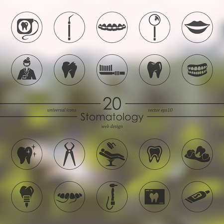 stomatology modern icons for mobile interface on blurred background Иллюстрация
