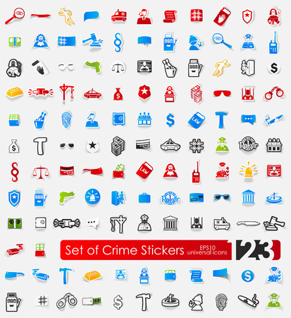 crime vector sticker icons with shadow. Paper cut Vector