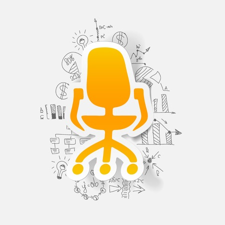 office chair: drawing business formulas. office chair
