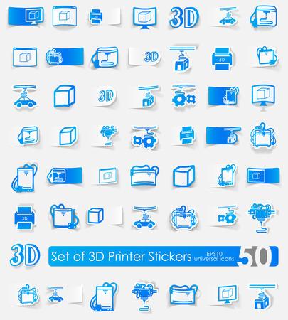 three d: Tre D sticker stampante vettore icone con ombra. Taglio carta