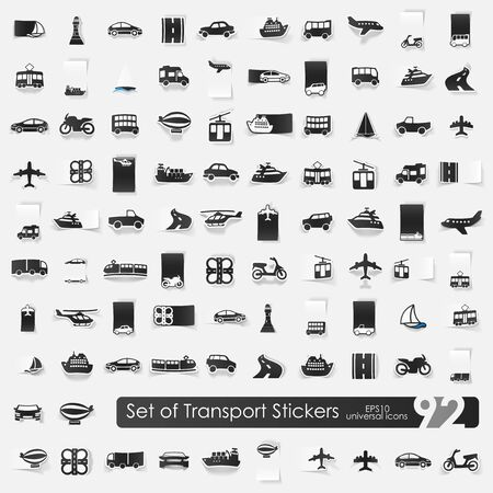 transport vector sticker icons with shadow. Paper cut Vector