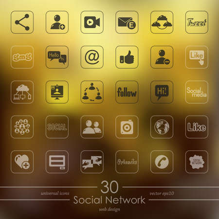 social network modern icons for mobile interface on blurred background Vector