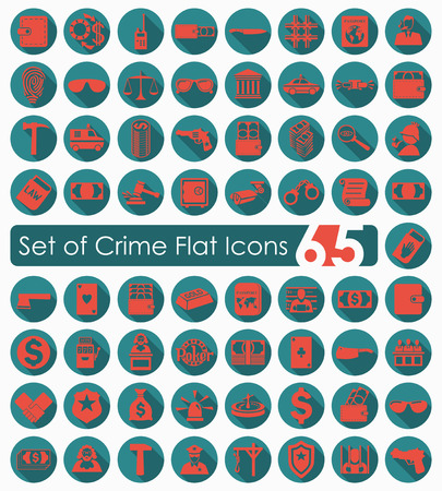Set of crime flat icons for Web and Mobile Applications Vector