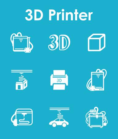 three d: It is a set of three d printer simple web icons Illustration