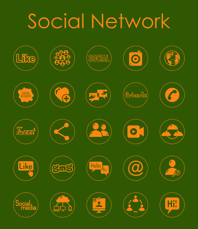 It is a set of social network simple web icons Vector