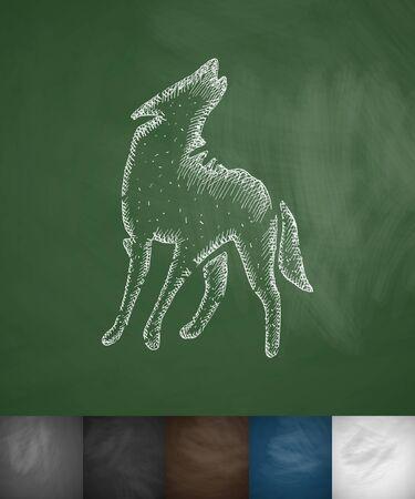 viviparous: wolf icon. Hand drawn vector illustration. Chalkboard Design