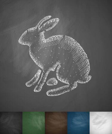 viviparous: hare icon. Hand drawn vector illustration. Chalkboard Design