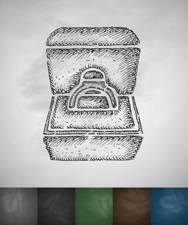 bague de fiancaille: bague de fian�ailles dans une ic�ne de bo�te. Tir� par la main illustration vectorielle. Tableau design Illustration