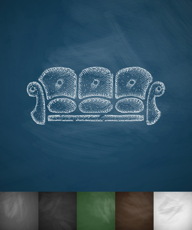 leather goods: sofa icon. Hand drawn vector illustration. Chalkboard Design Illustration